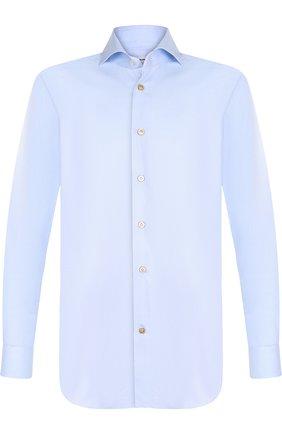 Хлопковая сорочка с воротником кент Kiton голубая | Фото №1