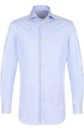 Мужская хлопковая сорочка с воротником кент KITON голубого цвета, арт. UCIH0623701000   Фото 1