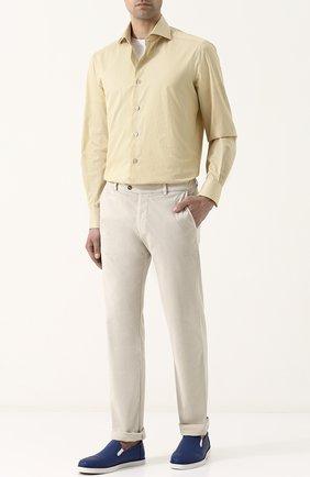 Хлопковая рубашка с воротником кент Kiton желтая | Фото №1