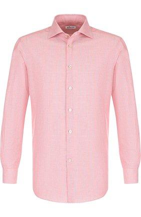 Рубашка из смеси хлопка и льна Kiton красная | Фото №1