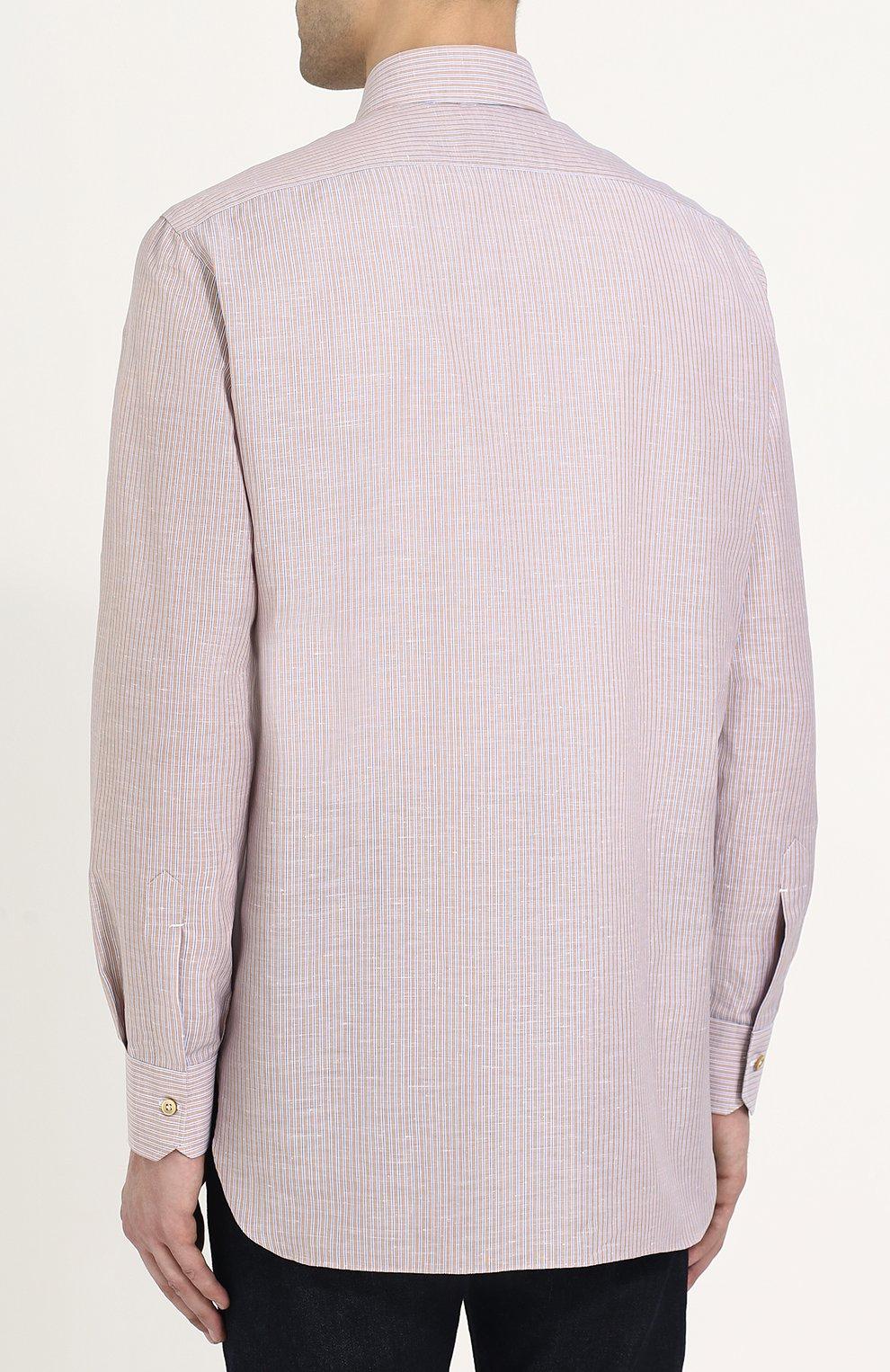 a74168919e7 Мужская бежевая рубашка из смеси хлопка и льна KITON — купить за ...