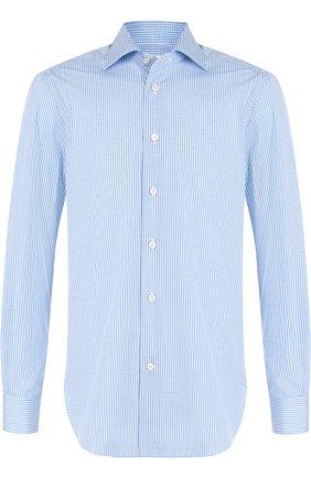 Мужская хлопковая рубашка с воротником кент KITON голубого цвета, арт. UCIH0636809000 | Фото 1