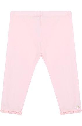 Хлопковые брюки с оборками Tartine Et Chocolat светло-розового цвета   Фото №1