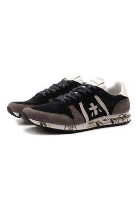 Комбинированные кроссовки Eric на шнуровке Premiata темно-синие | Фото №1
