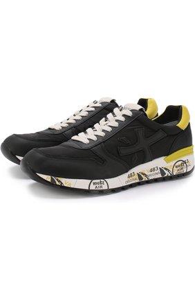 Комбинированные кроссовки Mick на шнуровке Premiata черные | Фото №1