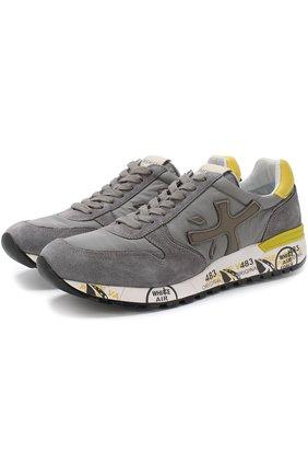 Комбинированные кроссовки Mick на шнуровке Premiata серые | Фото №1