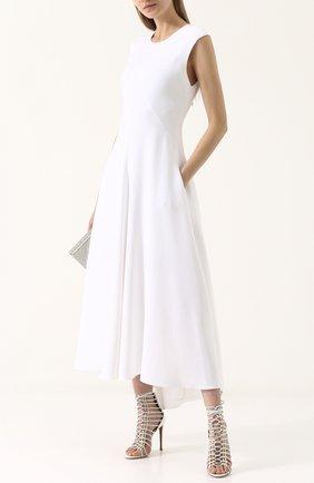 Кожаные босоножки на шпильке Alaia белые | Фото №1
