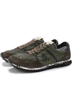 Комбинированные кроссовки Sean на шнуровке Premiata хаки | Фото №1