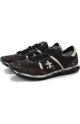 Комбинированные кроссовки Sean на шнуровке Premiata черные | Фото №1