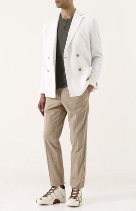 Высокие кожаные кеды на шнуровке Zegna Couture белые | Фото №1