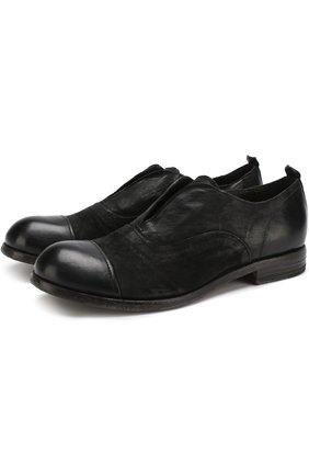 Кожаные оксфорды без шнуровки с круглым мысом Moma черные   Фото №1