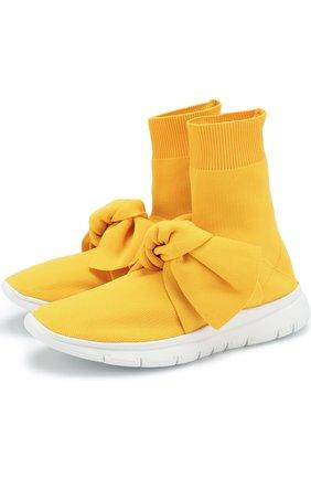 Высокие текстильные кроссовки с бантом | Фото №1