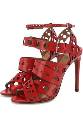 Кожаные босоножки на шпильке Alaia красные | Фото №1