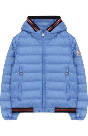 Пуховая куртка с капюшоном и контрастными манжетами | Фото №1