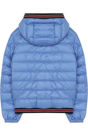 Пуховая куртка с капюшоном и контрастными манжетами | Фото №2