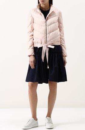 Стеганый пуховик с воротником-стойкой Moncler розовая | Фото №1