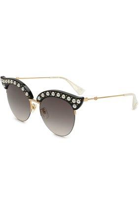 Женские солнцезащитные очки GUCCI черного цвета, арт. GG0212 001 | Фото 1