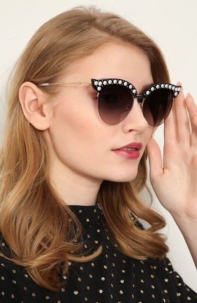 Женские солнцезащитные очки GUCCI черного цвета, арт. GG0212 001 | Фото 2