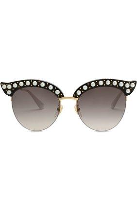 Женские солнцезащитные очки GUCCI черного цвета, арт. GG0212 001 | Фото 3