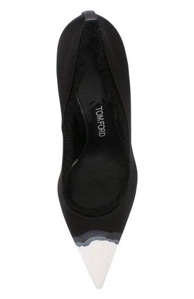 Женские шелковые туфли frayed с бахромой на шпильке TOM FORD черно-белого цвета, арт. W2242T-SDY | Фото 5