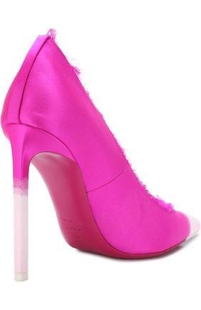 Женские шелковые туфли frayed с бахромой на шпильке TOM FORD фуксия цвета, арт. W2242T-SDY | Фото 4