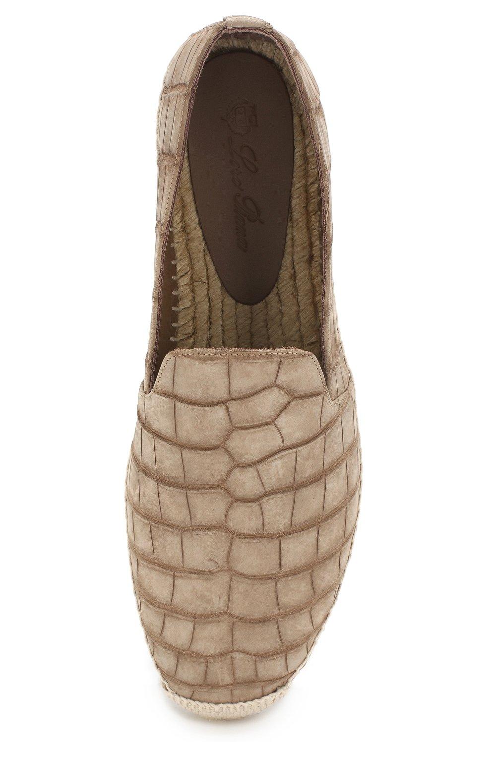 Мужские эспадрильи seaside walk из кожи аллигатора LORO PIANA бежевого цвета, арт. FAI1666   Фото 5