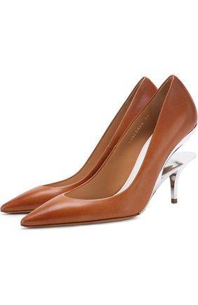 Кожаные туфли на геометричном каблуке Maison Margiela коричневые | Фото №1