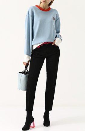 Текстильные ботильоны на массивном каблуке Versus Versace черные   Фото №1