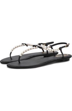 Кожаные сандалии с жемчужинами и бантом Rene Caovilla черные | Фото №1