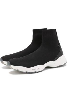 Текстильные кроссовки с контрастной подошвой O.X.S. черные | Фото №1