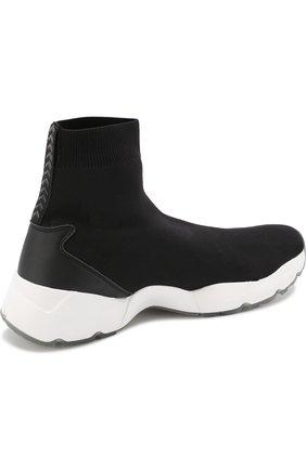 Текстильные кроссовки с контрастной подошвой O.X.S. черные | Фото №4