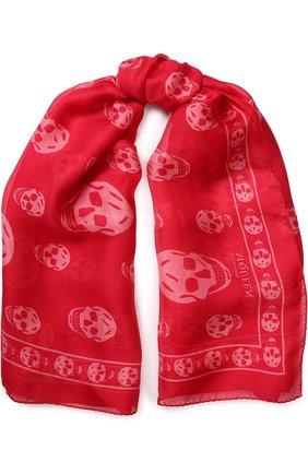 Шелковый шарф с принтом в виде черепов   Фото №1