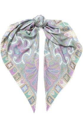Женский платок из смеси кашемира и шелка с принтом MICHELE BINDA сиреневого цвета, арт. 19WS026823 | Фото 1
