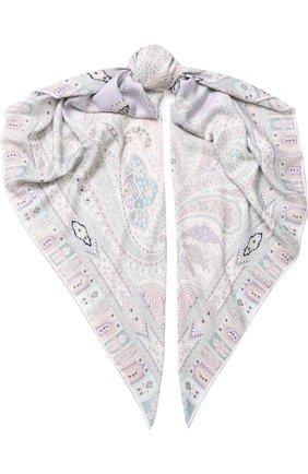 Женский платок из смеси кашемира и шелка с принтом MICHELE BINDA светло-розового цвета, арт. 19WS035915 | Фото 1