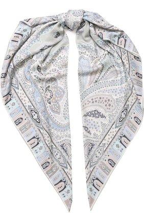 Женский платок из смеси кашемира и шелка с принтом MICHELE BINDA светло-серого цвета, арт. 19WS035915 | Фото 1