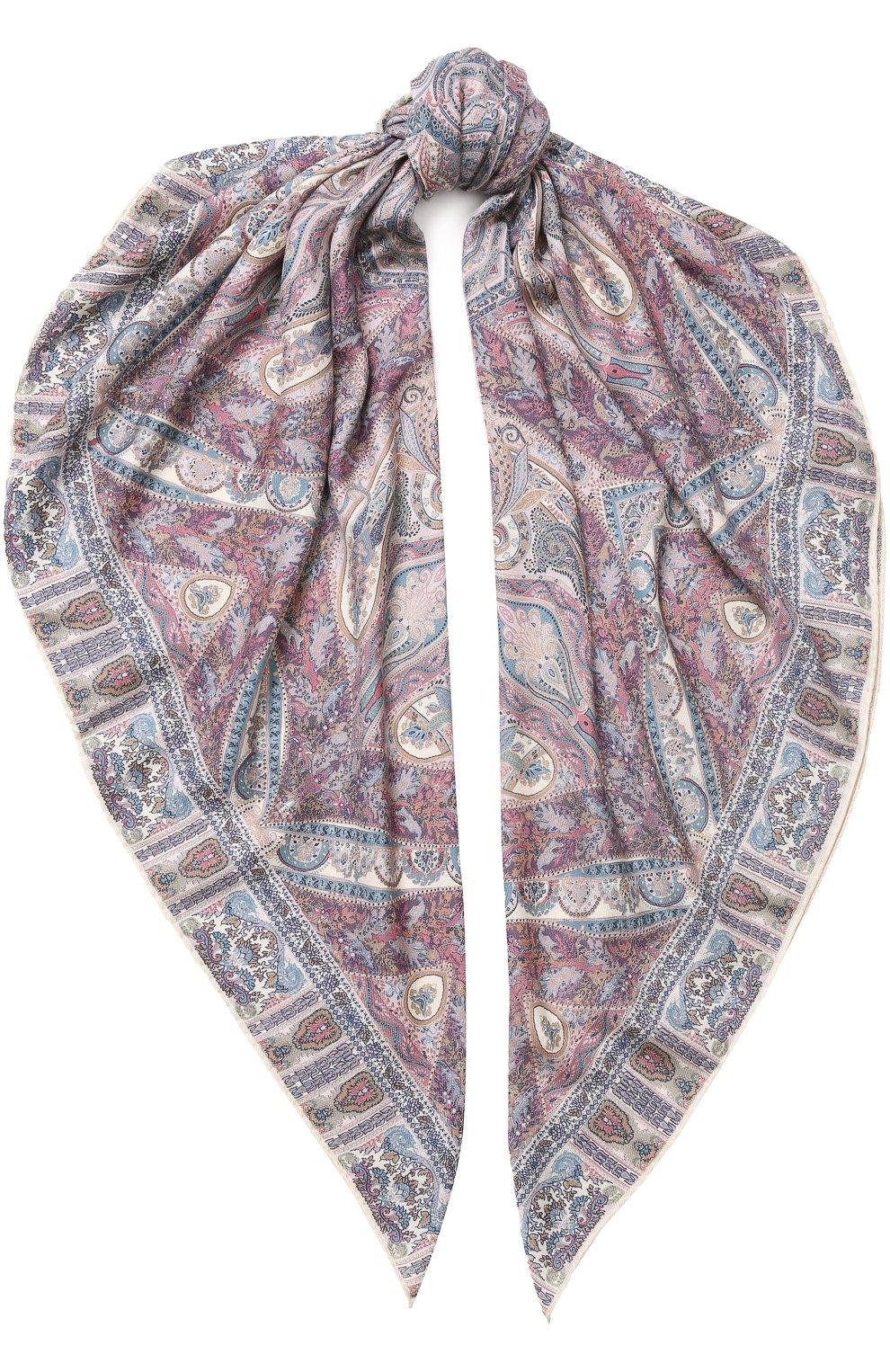 Женский платок из смеси кашемира и шелка с принтом MICHELE BINDA разноцветного цвета, арт. 19WS728131 | Фото 1