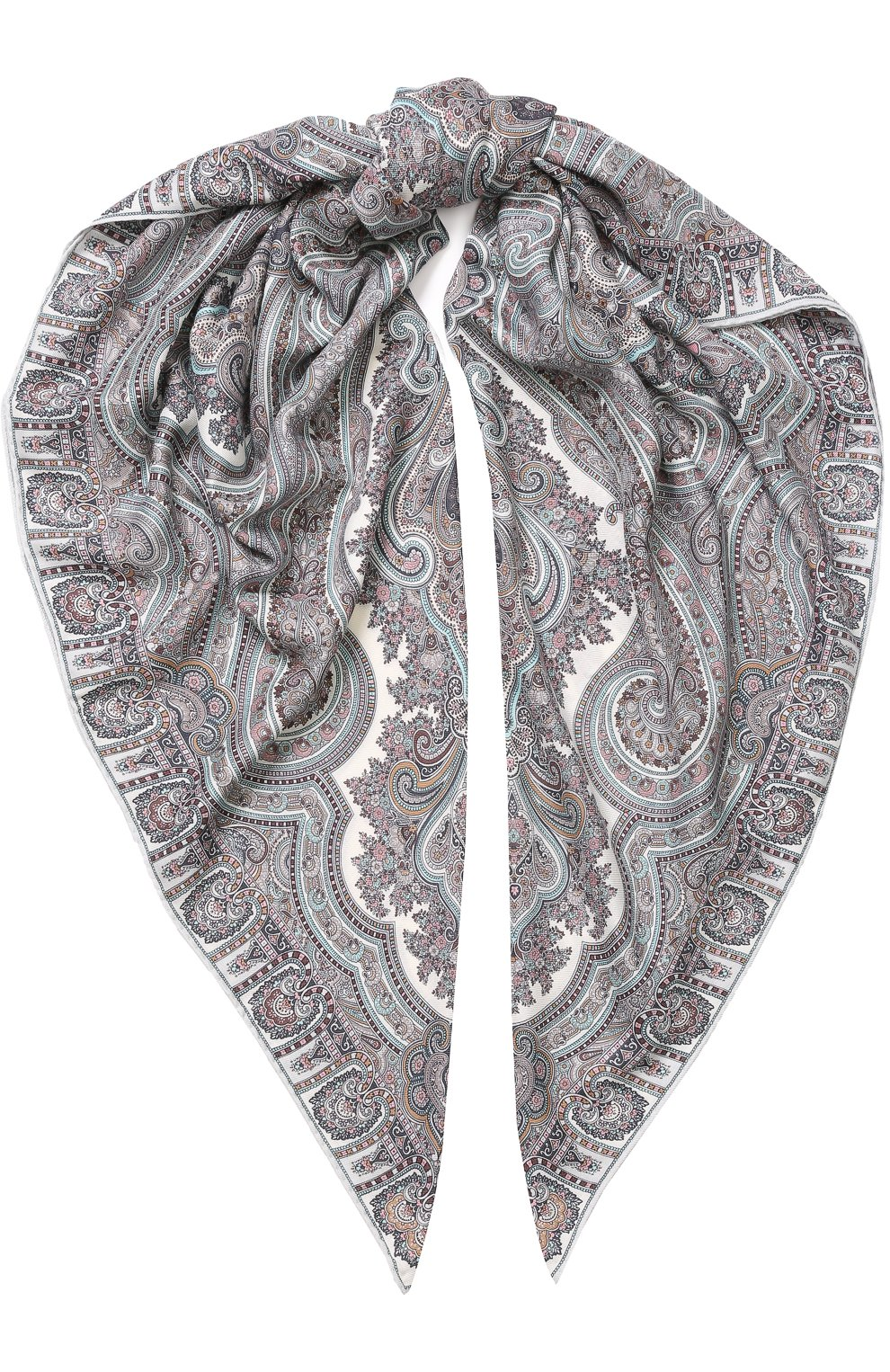 Женский платок из смеси кашемира и шелка с принтом MICHELE BINDA светло-серого цвета, арт. 19WS735953   Фото 1