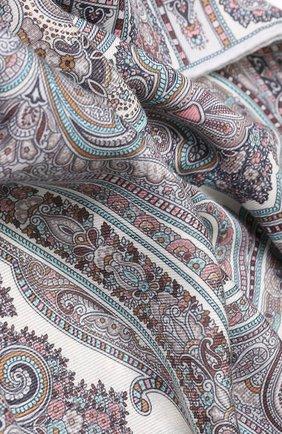 Женский платок из смеси кашемира и шелка с принтом MICHELE BINDA светло-серого цвета, арт. 19WS735953   Фото 2