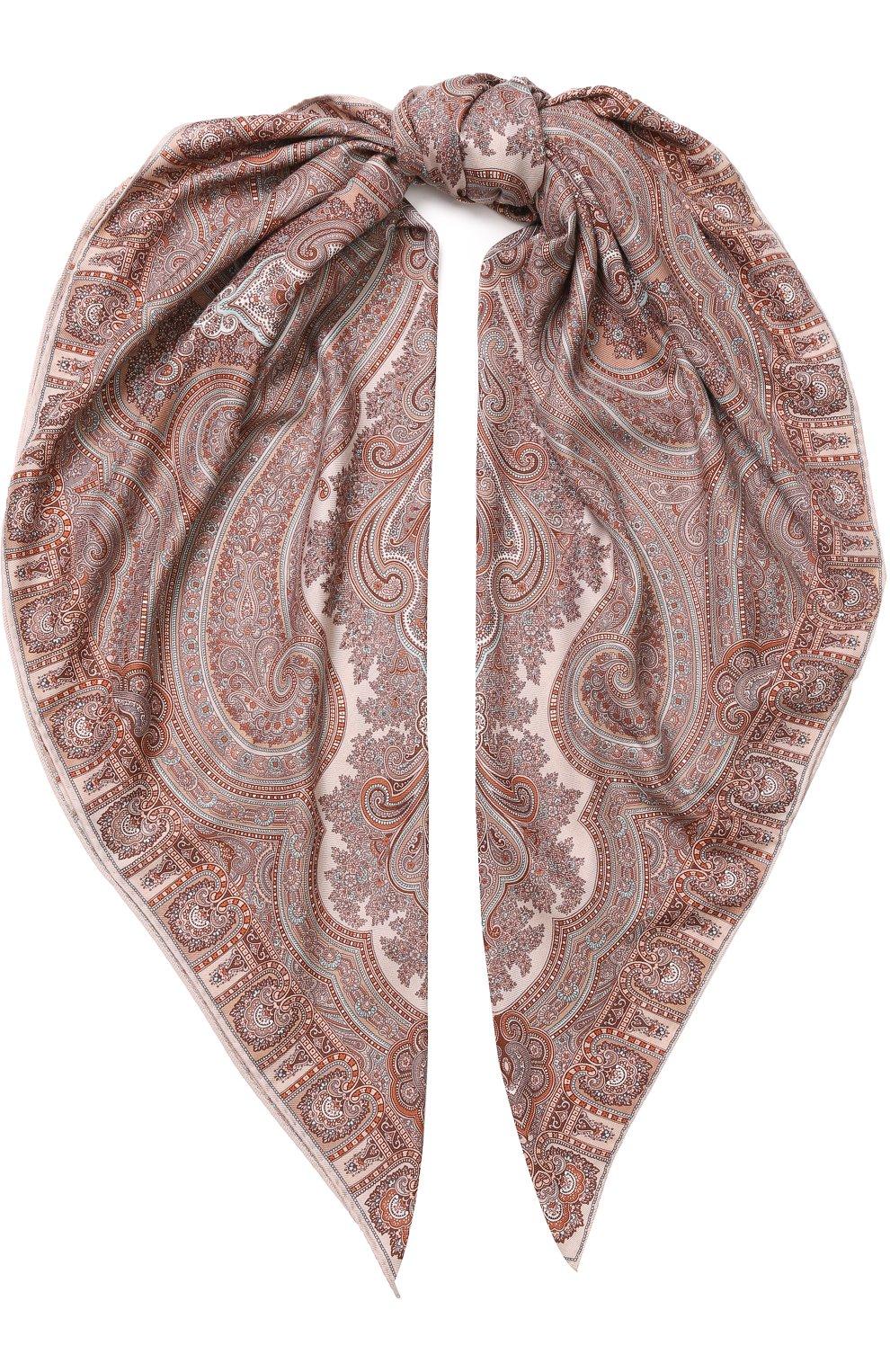 Женский платок из смеси кашемира и шелка с принтом MICHELE BINDA кораллового цвета, арт. 19WS735953 | Фото 1