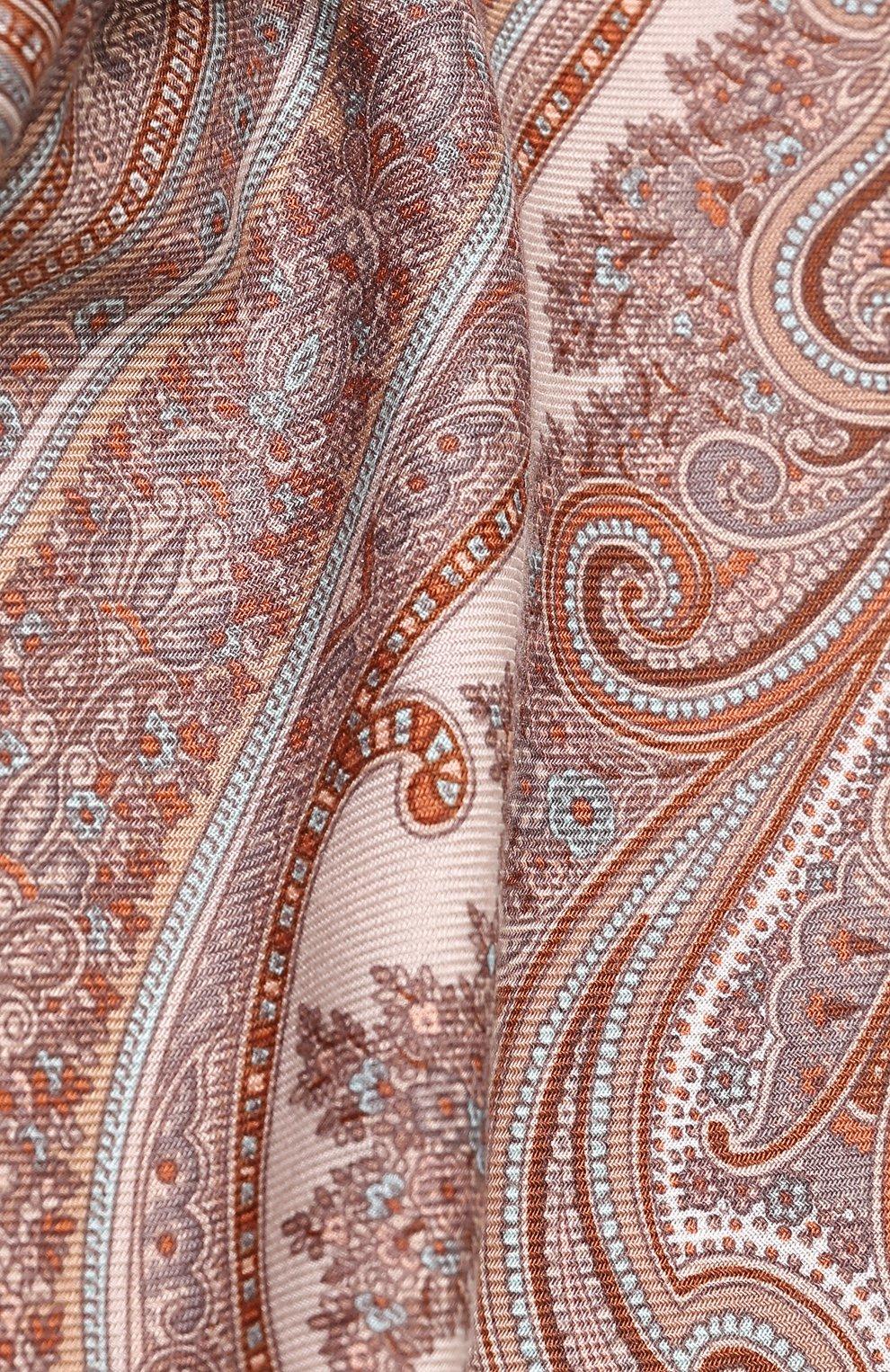 Женский платок из смеси кашемира и шелка с принтом MICHELE BINDA кораллового цвета, арт. 19WS735953 | Фото 2