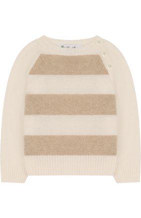 Детский кашемировый свитер в полоску LORO PIANA белого цвета, арт. FAE7160 | Фото 1