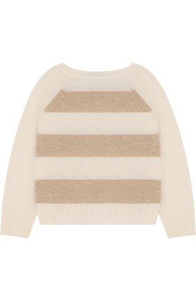 Детский кашемировый свитер в полоску LORO PIANA белого цвета, арт. FAE7160 | Фото 2