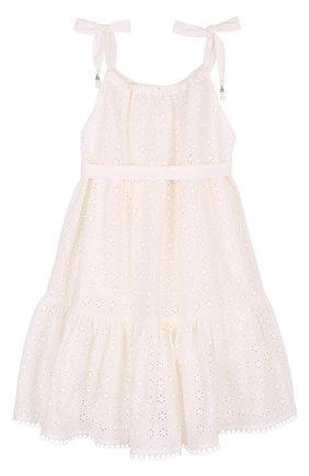 Детское кружевное платье из смеси хлопка и шелка с поясом Zimmermann белого цвета   Фото №1