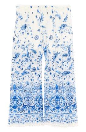 Укороченные хлопковые брюки свободного кроя с принтом | Фото №1