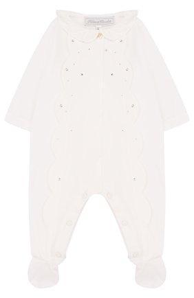 Детский хлопковая пижама с фестонами и стразами TARTINE ET CHOCOLAT белого цвета, арт. TL54001 | Фото 1