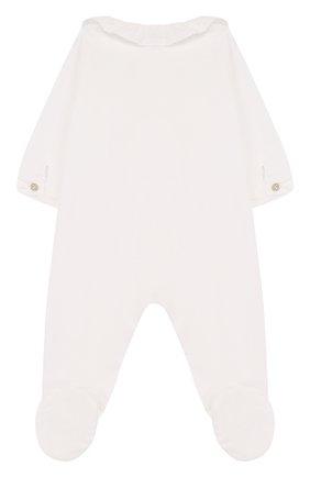 Хлопковая пижама с фестонами и стразами Tartine Et Chocolat белого цвета   Фото №1