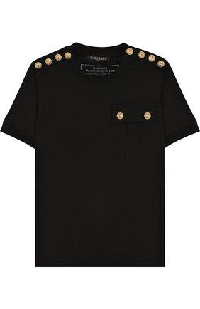 Хлопковая футболка с декоративными пуговицами | Фото №1