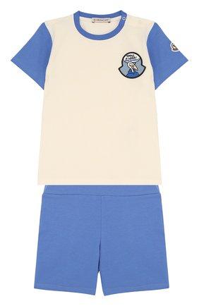 Детский хлопковый комплект из футболки и шорт MONCLER ENFANT белого цвета, арт. D1-951-88102-05-8790A | Фото 1