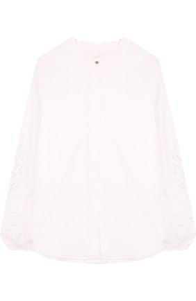 Хлопковая блуза свободного кроя с воротником-стойкой и декоративными рукавами | Фото №1