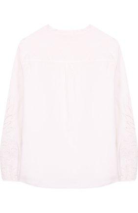 Хлопковая блуза свободного кроя с воротником-стойкой и декоративными рукавами | Фото №2